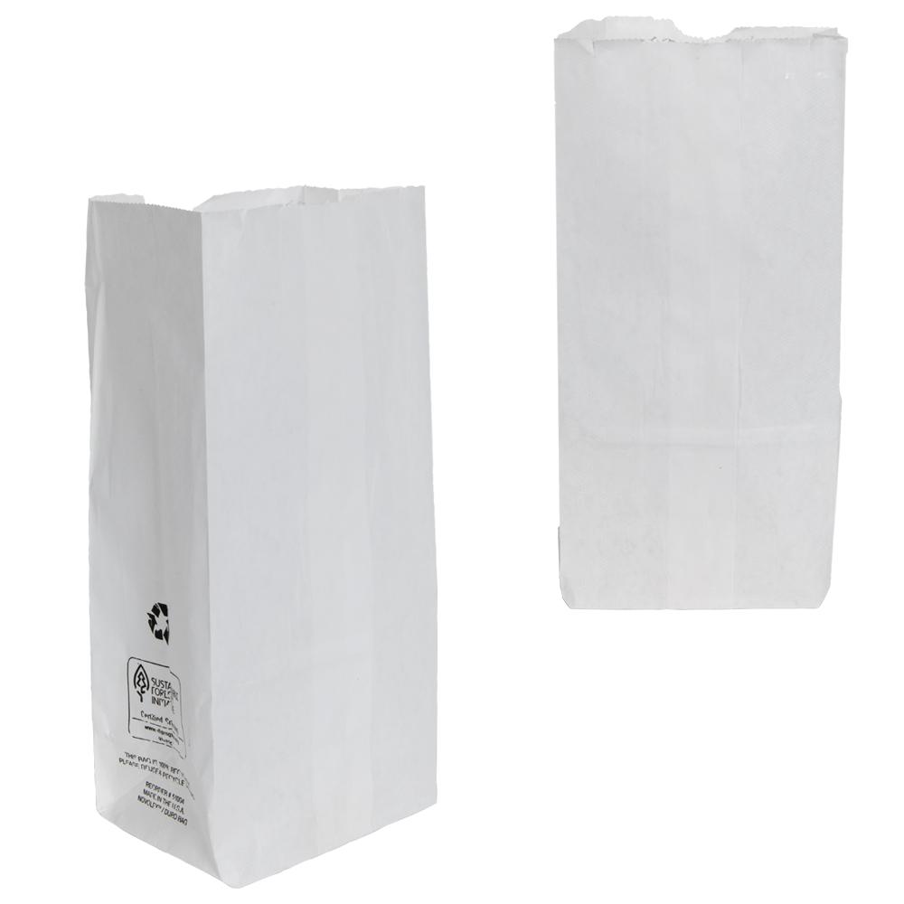 """6"""" x 3-3/4"""" x 11"""" White Kraft Paper Bags"""