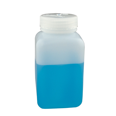 16 oz./500mL Nalgene™ Wide Mouth Polyethylene Square Bottles with 53mm Caps (Sold by Case)