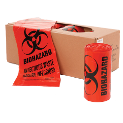 "24"" x 24"" x 1.3mil LLDPE Red Biohazard Bags"