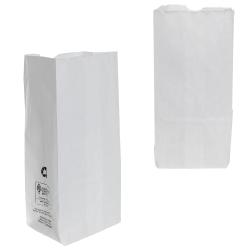 """5"""" x 3-1/4"""" x 9-1/2"""" White Kraft Paper Bags"""