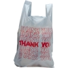"10"" x 5"" x 18"" .65 mil White  ""Thank You"" T-Shirt Bags"
