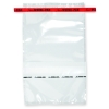 "7-1/2"" x 12"" x 4 mil 55 oz. Whirl-Pak Sampling Bags with Red Tapes & Write-On Blocks"
