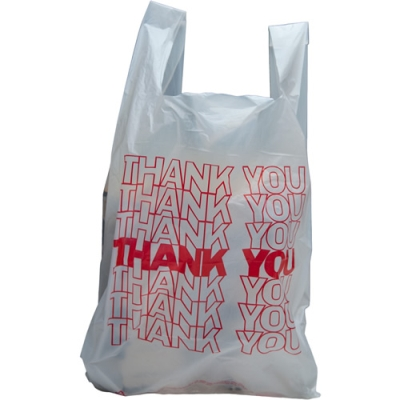 "10"" x 5"" x 18"" .65 mil White  ""Thank You"" T-Shirt Bags"