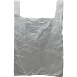 "18"" x 8"" x 28"" .65 mil White T-Shirt Bags"
