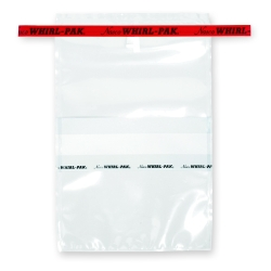 "6"" x 9"" x 3 mil 24 oz. Whirl-Pak Sampling Bags with Red Tapes & Write-On Blocks"