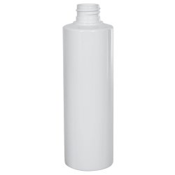 8 oz. White PVC Cylindrical Bottle with 24/410 Neck (Caps Sold Separately)