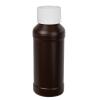 4 oz. Brown HDPE Modern Round Bottle with 28/410 CRC Cap