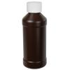 8 oz. Brown HDPE Modern Round Bottle with 28/410 CRC Cap