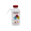 16 oz./500mL Acetone Nalgene™ Vented Unitary™ Right-To-Know Wash Bottle with Red 38mm Cap