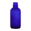 2 oz. Cobalt Frosted Glass Boston Round Bottle with 20/400 Neck  (Cap Sold Separately)