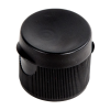 "20/410 Black Ribbed Snap Top Cap with .125"" Orifice"