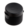 "24/410 Black Ribbed Snap Top Cap with .25"" Orifice"