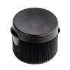"28/410 Black Ribbed Snap Top Cap with .25"" Orifice"