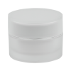 15mL Acrylic White/Silver Round Jar with Liner & Lid
