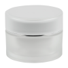 30mL Acrylic Frosted/Silver Round Jar with Liner & Lid