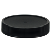 58/400 Black Polypropylene Deep Recessed Unlined Ribbed Cap