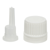 18mm White Tamper Evident Cap for EO Bottles w/ .039mL orifice reducer