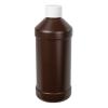 16 oz. Brown Modern Round Bottle with 28/410 Cap