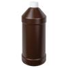 32 oz. Brown Modern Round Bottle with 28/410 Cap