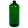 32 oz. Dark Green PET Traditional Boston Round Bottle with 28/410 Neck (Cap Sold Separately)