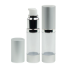 15mL Clear Airless Bottle with Pump and Silver Cap