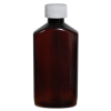 6 oz. Amber PET Drug Oblong Bottle with 24/410 CRC Cap