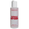 "4 oz. Natural HDPE Cylinder Bottle with 24/410 White Disc Top Cap & Red ""Cuticle Softener"" Embossed"