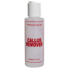 "4 oz. Natural HDPE Cylinder Bottle with 24/410 White Disc Top Cap & Red ""Callus Remover"" Embossed"