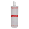 "16 oz. Natural HDPE Cylinder Bottle with 24/410 White Disc Top Cap & Red ""Acetone"" Embossed"