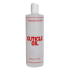 "16 oz. Natural HDPE Cylinder Bottle with 24/410 White Disc Top Cap & Red ""Cuticle Oil"" Embossed"