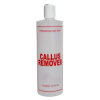 "16 oz. Natural HDPE Cylinder Bottle with 24/410 White Disc Top Cap & Red ""Callus Remover"" Embossed"