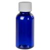 1 oz. Cobalt Blue PET Traditional Boston Round Bottle with 20/400 Plain Cap