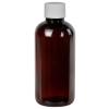 4 oz. Light Amber PET Traditional Boston Round Bottle with 24/410 Plain Cap