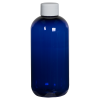 8 oz. Cobalt Blue PET Traditional Boston Round Bottle with 24/410 Plain Cap