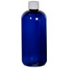12 oz. Cobalt Blue PET Traditional Boston Round Bottle with 24/410 Plain Cap