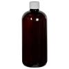 12 oz. Light Amber PET Traditional Boston Round Bottle with 24/410 Plain Cap