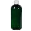 12 oz. Dark Green PET Traditional Boston Round Bottle with 24/410 Plain Cap