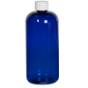 16 oz. Cobalt Blue PET Traditional Boston Round Bottle with 24/410 Plain Cap