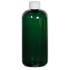 16 oz. Dark Green PET Traditional Boston Round Bottle with 24/410 Plain Cap