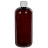 16 oz. Light Amber PET Traditional Boston Round Bottle with 28/410 Plain Cap