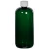 16 oz. Dark Green PET Traditional Boston Round Bottle with 28/410 Plain Cap