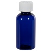 2 oz. Cobalt Blue PET Traditional Boston Round Bottle with 20/400 CRC Cap
