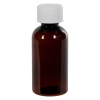 2 oz. Light Amber PET Traditional Boston Round Bottle with 20/400 CRC Cap