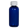 4 oz. Cobalt Blue PET Traditional Boston Round Bottle with 24/410 CRC Cap