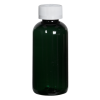 4 oz. Dark Green PET Traditional Boston Round Bottle with 24/410 CRC Cap