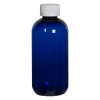 8 oz. Cobalt Blue PET Traditional Boston Round Bottle with 24/410 CRC Cap