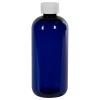12 oz. Cobalt Blue PET Traditional Boston Round Bottle with 24/410 CRC Cap