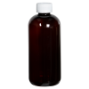 12 oz. Light Amber PET Traditional Boston Round Bottle with 24/410 CRC Cap