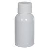 1 oz. White PET Squat Boston Round Bottle with 20/410 Plain Cap