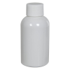 2 oz. White PET Squat Boston Round Bottle with 20/410 Plain Cap